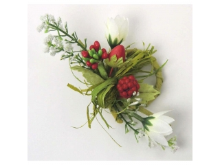 "Inel pt servetel ""Streawberry"" L11cm red/white/green, 1 buc"