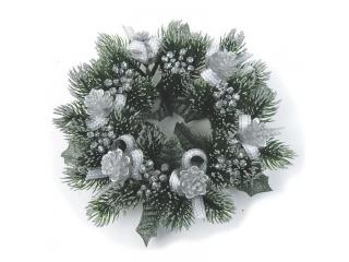 "Coronita ""Pine Cone Ribbon"" (L) D20cm, Silver/Green, 1 buc."