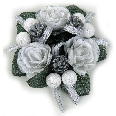 "Coronita ""Rose Berry Ribbon"" White/Silver, 1 buc., Coronite  artificiale,"
