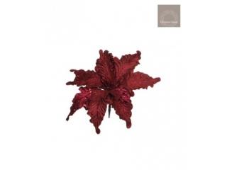 "Floare artificiala cu clama ""Poinsettia"" d. red - l28cm, 1 buc."