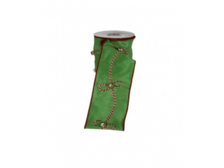 "Panglica ""CORD WITH JINGLE BELL"" L475 W10 GREEN,1 buc"