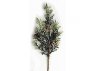 "Creanga artificiala ""Pine Cone Frost"" Green, 17+23 cm, 1 buc."