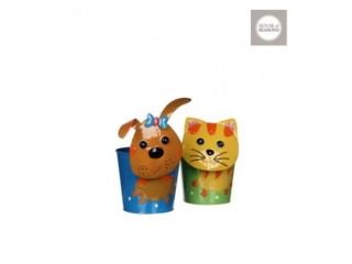 "Set ghiveciiri ""Cat dog"" h20xd12cm. green blue 2 buc.as."