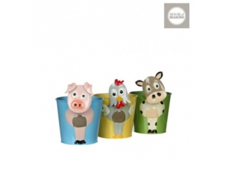 "Set ghiveciuri""Chicken cow pig"" h19xd12cm. yellow green blue 3 buc.as"