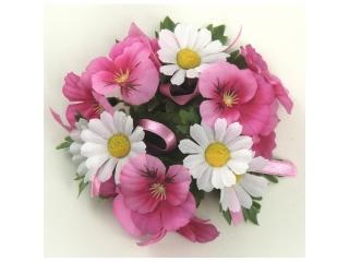 "Coronita ""Pansy Daisy"", D11cm, Pink/White, 1 buc."