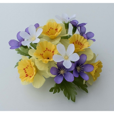 """Coronita """"Narcissus Blossom"""" Yellow/lilac, 1 buc, Coronite  artificiale,"""