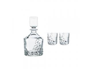 "Set garafa cu 2 pahare p/u whisky ""Sculpture""  365 ml, 3 piese"