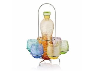 """Multicolor"" Set 6 pahare+1 sticla+stativ metalic, 1 buc"