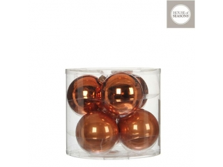 "Set globuri ""Ornament"", Copper, D8cm, 6 pcs."