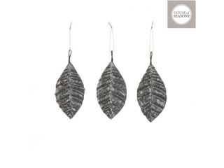 "Ornament ""Leaf"", L15cm, Silver, 3pcs"