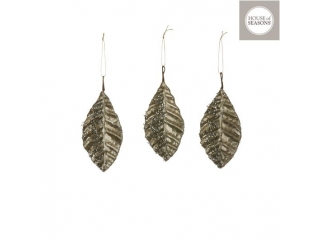 "Ornament ""Leaf"", L15cm, Champagne, 3pcs"