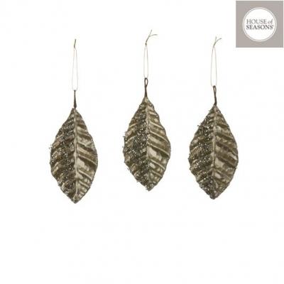 """Ornament """"Leaf"""", L15cm, Champagne, 3pcs, Decor,"""