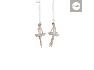 "Ornament ""Ballerina"", l6*h11cm, White, 1pcs"