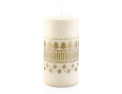 """""""Holidays"""" Luminare pilon, Crem/Gold, h-15 cm, 1 buc, Parfumuri, luminări parfumate ,"""