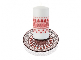 """Holidays"" Luminare pilon, White/Red, h-15 cm, 1 buc"