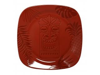 """Aztek RED"" Platou patrat, 17 cm, 1 buc"