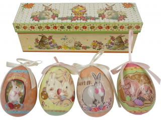 Happy Easter Oua de Paste in cutie, 21,5x6x8 cm ,4 pcs