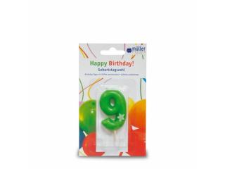 """Lumânare """"Birthday"""" cifra 9, 1 buc"""