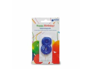 """Lumânare """"Birthday"""" cifra 8 , 1 buc"""