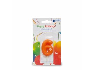 """Lumânare """"Birthday"""" cifra 6, 1 buc"""