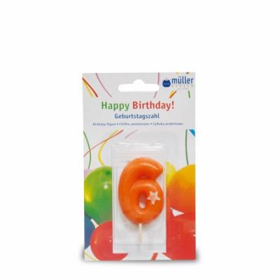 """Lumânare """"Birthday"""" cifra 6, 1 buc, Holidays,"""