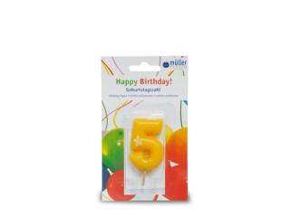 """Lumânare """"Birthday"""" cifra 5 , 1 buc"""