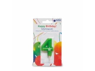 """Lumânare """"Birthday"""" cifra 4, 1 buc"""