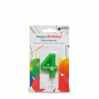 """Lumânare """"Birthday"""" cifra 4, 1 buc, Holidays,"""