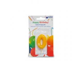 """Lumânare """"Birthday"""" cifra 0, 1 buc"""