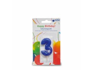 """Lumânare """"Birthday"""" cifra 3, 1 buc"""