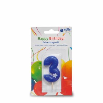 """Lumânare """"Birthday"""" cifra 3, 1 buc, Holidays,"""