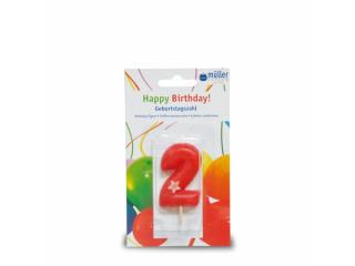 """Lumânare """"Birthday"""" cifra 2, 1 buc"""