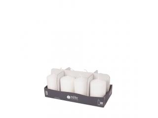 "Set lumânări - pilon ""White"" 8 buc 120/60 mm"