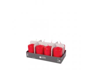 """Set lumânări - pilon """"Red"""" 8 bucați 120/60 mm"""