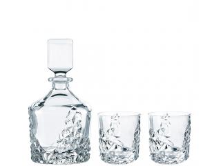 """Sculpture"" Set carafa cu 2 pahare p/u whisky, (0,75 l + 365 ml), 3 pcs"