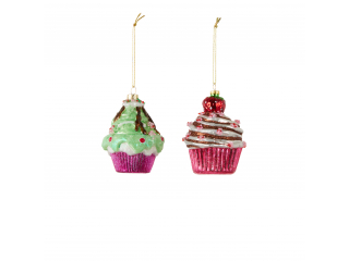 "Ornament ""Cupcake"", green/red  - h10xd7cm ,1pcs."