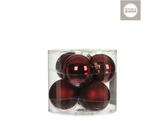 "Set globuri ""Ornament"", Red, d8cm, 6pcs"