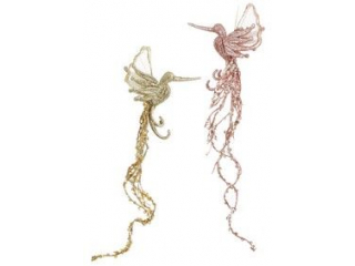 "Ornament ''Bird"" , Gold/Pink, h29 cm,1 pcs."