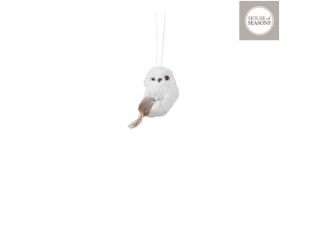 "Ornament ""Owl"", White, h9cm, 1buc"