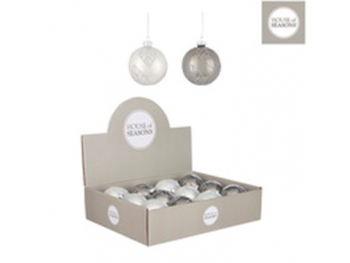 Ornament ''Bauble'', Grey-White ,d8cm,1 buc