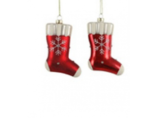 "Ornament ""Sock"", Red, h11cm, 1pcs"
