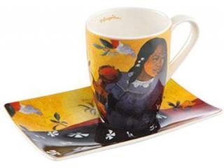 "Cana cu farfurioara ""Woman with mango"", 12 cm, 0,4 l, 1 buc"