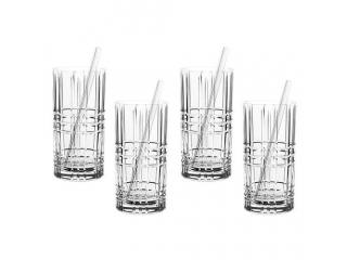 """""""Longdrink"""" Set 4 pahare 445 ml* 4 paie de sticla , 8 pcs"""