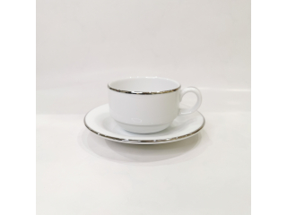 """Opus Platinum"" Cana stivuita cu farfurioara, c-9,2 cm s-15,9 cm, 1 set."