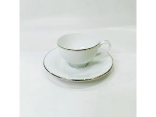 """Simplicity Thick Edge Platinum"" Cana cafea cu farfurioara  c-7,5cm s-13,6 cml, 1set."