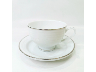 """Simplicity Thick Edge Platinum"" Cana ceai cu farfurioara 253 ml, 1set."